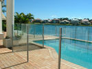 8mm Flat Tempered Glass Pool Fencing , Splashback Glass Handrails